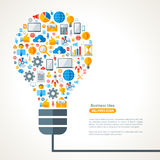 Light Bulb with Business Icons Pattern Royalty Free Stock Photography