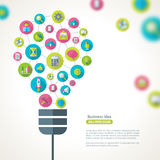 Light Bulb with Business Icons Pattern Royalty Free Stock Photos
