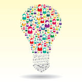 Light bulb with business people icons Stock Photo