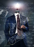 Light bulb on businessman - solution concept. Idea Stock Images