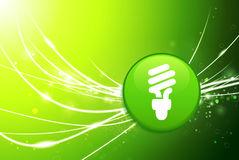 Light Bulb Button on Green Abstract Light Background. 