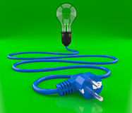 Light bulb, cable and electroplug Stock Photos
