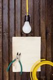 Light bulb on the cable Stock Photography