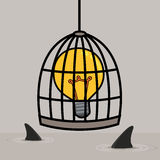 Light bulb in cage Stock Photos