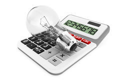 Light bulb with calculator. On a white background Royalty Free Stock Images