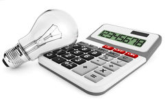Light bulb with calculator. On a white background Royalty Free Stock Photography