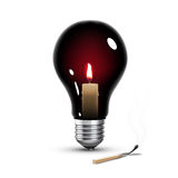 Light bulb with candle. Black light bulb with candle inside on white Stock Image