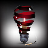 Light bulb with candle. Surreal spiral black light bulb with candle inside Royalty Free Stock Image