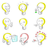 Light Bulb Cartoon Sketch Hand Draw Set Idea Royalty Free Stock Photo