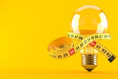 Light bulb with centimeter. Isolated on orange background. 3d illustration stock illustration