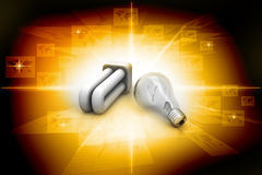 Light bulb and cfl, energy saving concept Royalty Free Stock Images
