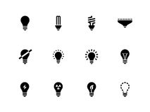 Light bulb and CFL lamp icons on white background. Royalty Free Stock Photo