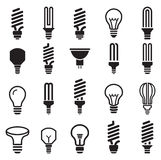 Light bulb and CFL lamp  set icons Stock Photography