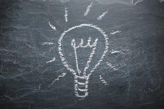 Light bulb on chalkboard Stock Images