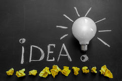Light bulb on chalkboard with title idea!and crumpled yellow papers. Light bulb with rays on the black chalkboard with title idea! written by white chalk and royalty free stock photo