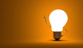 Light bulb character, aha moment, orange background Stock Image