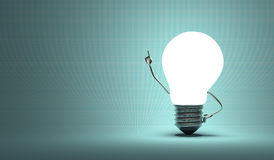 Light bulb character, aha moment, squared blue background Stock Images