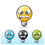 Light bulb character: Angry Royalty Free Stock Images