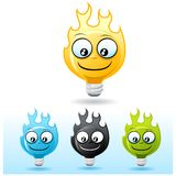 Light bulb character: on Fire. Light bulb smiley face icon. on Fire Royalty Free Stock Photo