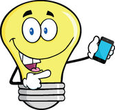 Light Bulb Character Holding A Mobile Phone Stock Photos