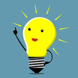 Light bulb character, insight. Light bulb character in moment of insight, EPS 10 vector illustration Stock Photos