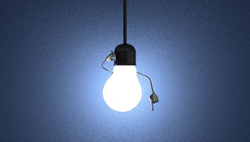 Light bulb character in socket, moment of insight on blue stock illustration