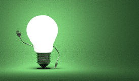 Light Bulb Character Waving Hand On Green Royalty Free Stock Photography