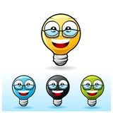 Light bulb character: Wearing eyeglass Royalty Free Stock Photo