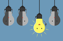 Light bulb characters hanging Stock Photos