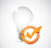 Light bulb and check mark cycle Stock Photos