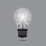 Light bulb in circuit board. Light bulb in circuit board, flat style illustration Royalty Free Stock Photo