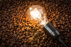 Light bulb on coffee beans Stock Image