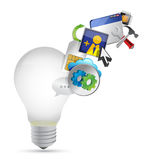 Light bulb and colorful application Stock Photo
