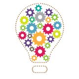 Idea Colorful Cogs. A light bulb with colorful cogwheels inside Stock Images