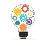 Light bulb with colorful gears and cogs vector. Background stock illustration