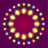 Light bulb colorful holiday or casino lights frame. Vector Stock Photography