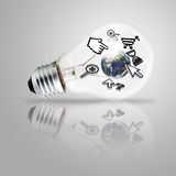 Light bulb and computer cursor. As internet concept, elements of this image furnished by NASA Royalty Free Stock Photography