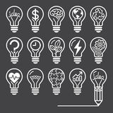 Light bulb concept line icons style. Stock Photos