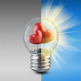 Light bulb concept with a red shape of a heart. High resolution 3d illustration Royalty Free Stock Photos