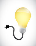 Light bulb connected to a power cable Stock Image
