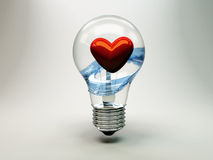 Light bulb containing heart Royalty Free Stock Photos