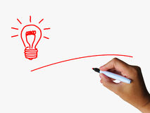 Light Bulb And Copyspace Shows Ideas Stock Image