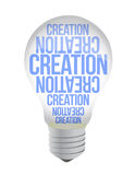 Light Bulb With Creation Text. Illustration design over white Stock Photography