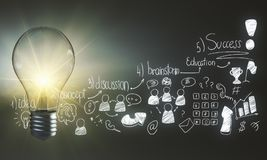 Solution and achievement concept. Light bulb and creative business sketch on light background. Solution and achievement concept Royalty Free Stock Image