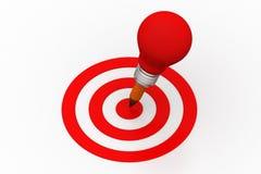 Light bulb creative   concept hit on target icon Stock Photos