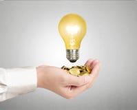 Light bulb, Creative light bulb idea in the hand Royalty Free Stock Photo