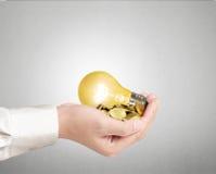 Light bulb, Creative light bulb idea in the hand Stock Photo