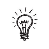 Light bulb - creative sketch draw vector illustration. Electric lamp logo sign Stock Image