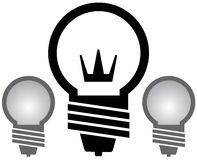 Light bulb with crown set Royalty Free Stock Photo