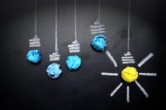 Light-bulb-crumpled-paper-on-blackboard. Light-bulb-crumpled-paper-on-light-bulb-crumpled-paper-on-blackboard-idea-concept-background Stock Photo